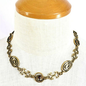 Chico's Gold Tone Scroll Link Necklace Rhinestones